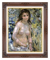 Pierre Auguste Renoir Nude In Sunlight canvas with dark regal wood frame