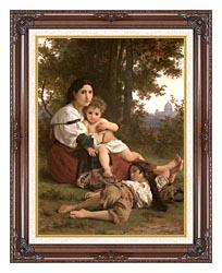 William Bouguereau Rest canvas with dark regal wood frame