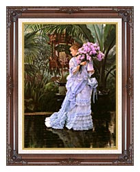 James Tissot The Bunch Of Lilacs canvas with dark regal wood frame