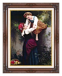 William Bouguereau Little Marauders canvas with dark regal wood frame