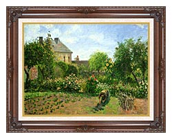 Camille Pissarro The Artists Garden At Eragny canvas with dark regal wood frame