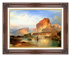 Thomas Moran Cliffs Of Green River canvas with dark regal wood frame