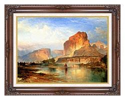 Thomas Moran Cliffs Of Green River canvas with dark regal wood frame