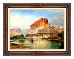 Thomas Moran Cliffs Of Green River 1874 Detail canvas with dark regal wood frame
