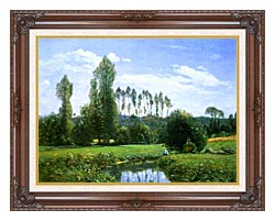 Claude Monet View From Rouelles Monets First Painting canvas with dark regal wood frame