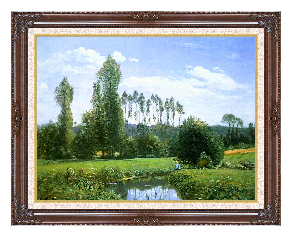 Claude Monet View from Rouelles (Monet's First Painting) with Dark Regal Frame w/Liner