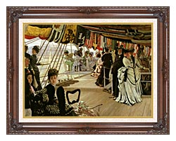 James Tissot The Ball On Shipboard canvas with dark regal wood frame