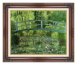 Claude Monet Water Lily Pond Harmony In Green canvas with dark regal wood frame