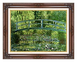Claude Monet Water Lily Pond Harmony In Green Detail canvas with dark regal wood frame