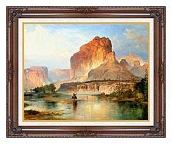 Thomas Moran Cliffs Of Green River Detail canvas with dark regal wood frame