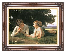William Bouguereau Temptation canvas with dark regal wood frame