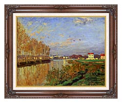 Claude Monet The Seine At Argenteuil Vanilla Sky canvas with dark regal wood frame