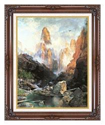 Thomas Moran Mist In Kanab Canyon Utah canvas with dark regal wood frame