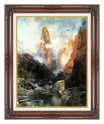 Thomas Moran Mist In Kanab Canyon Utah 1892 canvas with dark regal wood frame