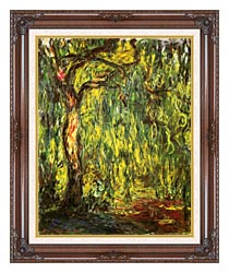 Claude Monet Landscape Weeping Willow canvas with dark regal wood frame