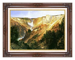 Thomas Moran Lower Falls Of The Yellowstone canvas with dark regal wood frame