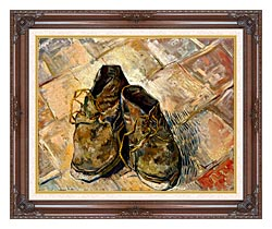 Vincent Van Gogh A Pair Of Old Shoes canvas with dark regal wood frame