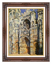 Claude Monet Rouen Cathedral The Portal And The Tour Sainte Romain Full Sunlight Harmony In Blue And Gold canvas with dark regal wood frame
