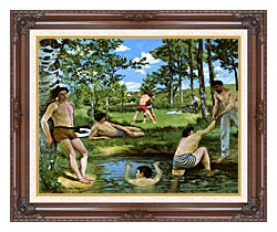 Frederic Bazille Summer Scene canvas with dark regal wood frame
