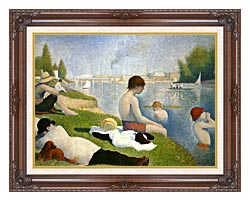 Georges Seurat Bathers At Asnieres canvas with dark regal wood frame