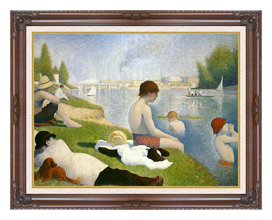 Georges Seurat Bathers at Asnieres with Dark Regal Frame w/Liner