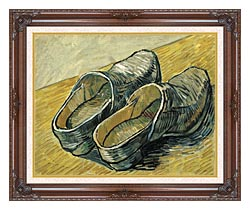 Vincent Van Gogh A Pair Of Leather Clogs canvas with dark regal wood frame