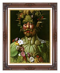 Giuseppe Arcimboldo Vertumnus canvas with dark regal wood frame
