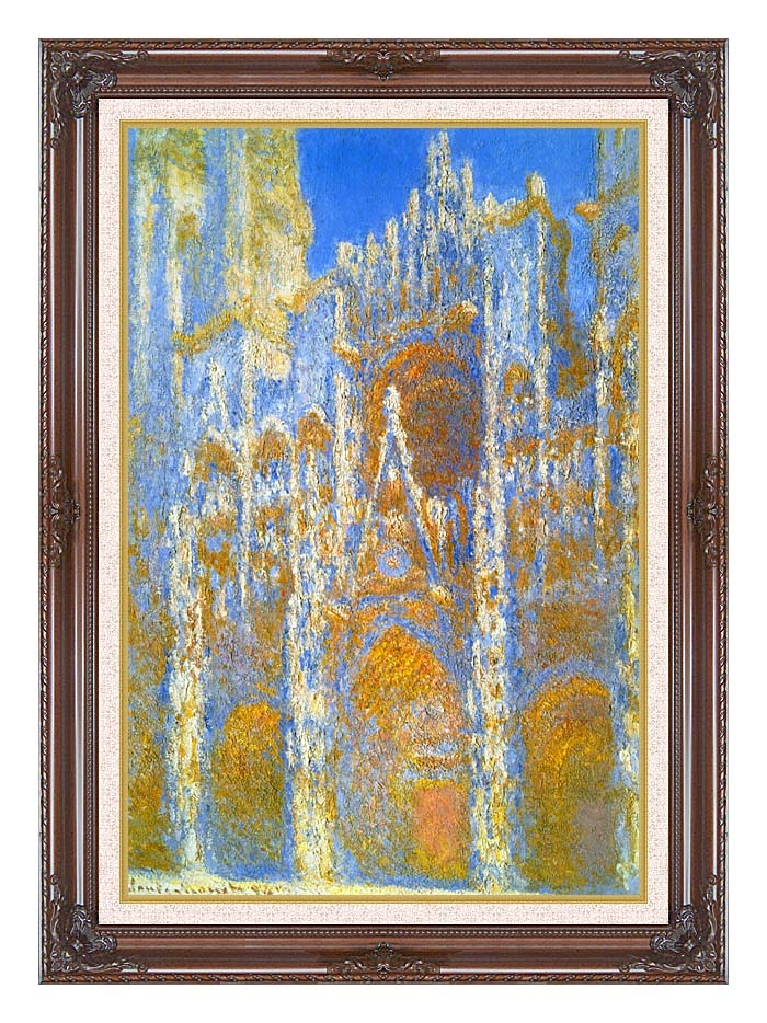 Claude Monet Rouen Cathedral, Sunlight Effect with Dark Regal Frame w/Liner