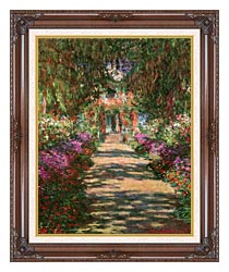 Claude Monet Main Path Through The Garden At Giverny Portrait Detail canvas with dark regal wood frame