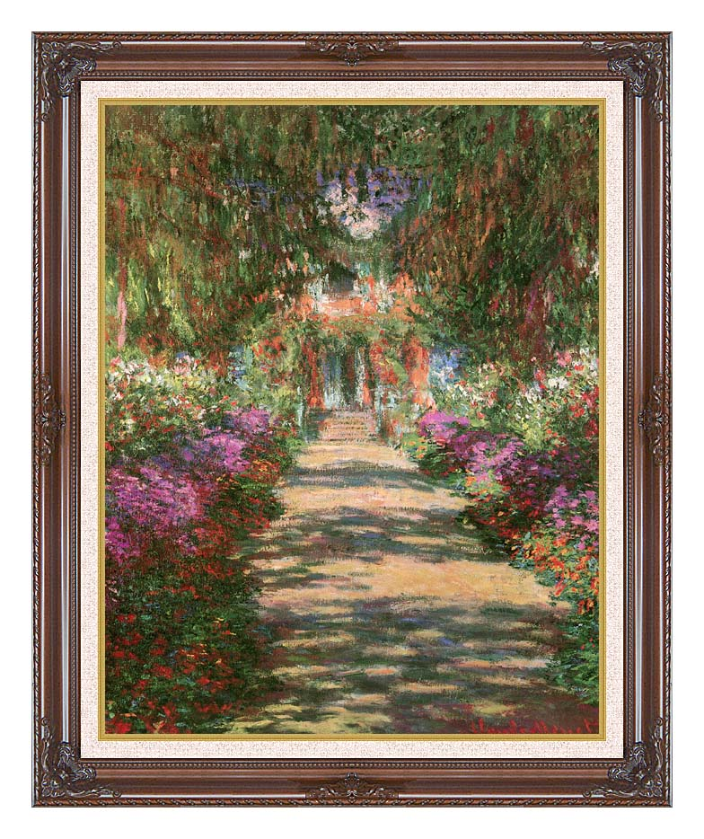 Claude Monet Main Path through the Garden at Giverny (portrait detail) with Dark Regal Frame w/Liner