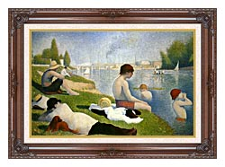 Georges Seurat Bathers At Asnieres Detail canvas with dark regal wood frame