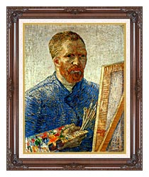 Vincent Van Gogh Self Portrait As An Artist canvas with dark regal wood frame