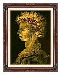 Giuseppe Arcimboldo Fire canvas with dark regal wood frame