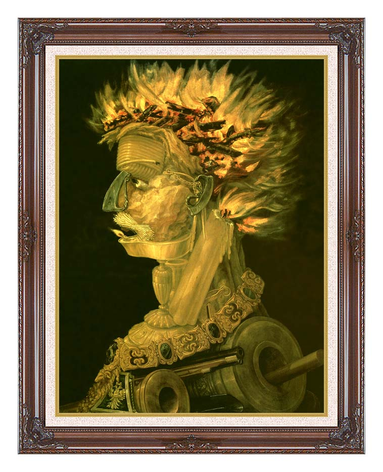 Giuseppe Arcimboldo Fire with Dark Regal Frame w/Liner