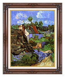 Vincent Van Gogh Houses At Auvers canvas with dark regal wood frame