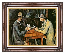 Paul Cezanne The Card Players canvas with dark regal wood frame