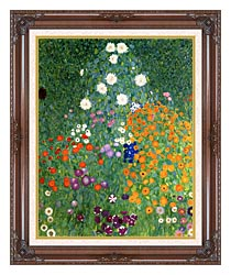 Gustav Klimt Farm Garden Portrait Detail canvas with dark regal wood frame