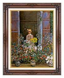 Claude Monet Camille Monet At The Window canvas with dark regal wood frame