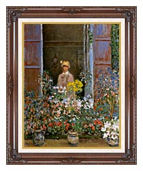 Claude Monet Camille Monet At The Window 1873 canvas with dark regal wood frame