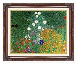 Gustav Klimt Farm Garden Detail canvas with dark regal wood frame