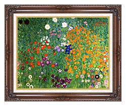 Gustav Klimt Farm Garden 1905 6 Detail canvas with dark regal wood frame