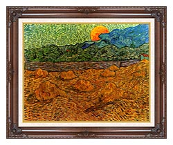Vincent Van Gogh Evening Landscape With Rising Moon canvas with dark regal wood frame
