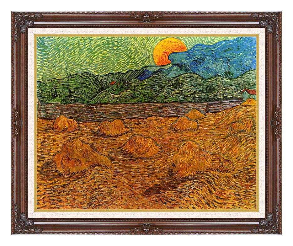 Vincent van Gogh Evening Landscape with Rising Moon with Dark Regal Frame w/Liner