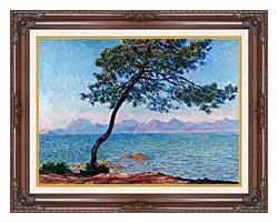Claude Monet Antibes canvas with dark regal wood frame