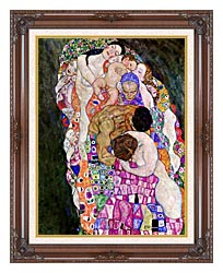 Gustav Klimt Death And Life Life Detail canvas with dark regal wood frame