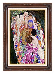 Gustav Klimt Death And Life Life Portrait Detail canvas with dark regal wood frame