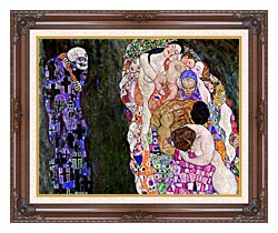 Gustav Klimt Death And Life Detail canvas with dark regal wood frame