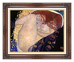 Gustav Klimt Danae Detail canvas with dark regal wood frame