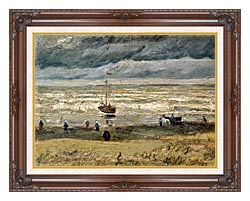 Vincent Van Gogh View Of The Sea At Scheveningen canvas with dark regal wood frame