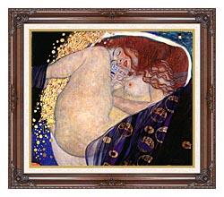 Gustav Klimt Danae canvas with dark regal wood frame